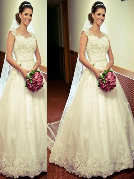 Ball Gown Sleeveless Tulle Sweetheart Floor-Length Wedding Dresses