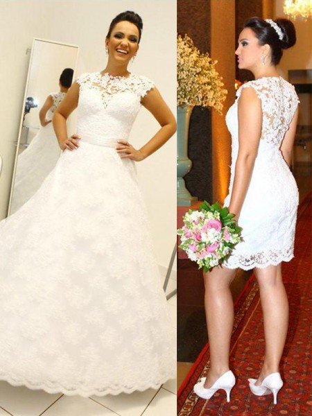 Ball Gown Sleeveless Lace Scoop Floor-Length Wedding Dresses