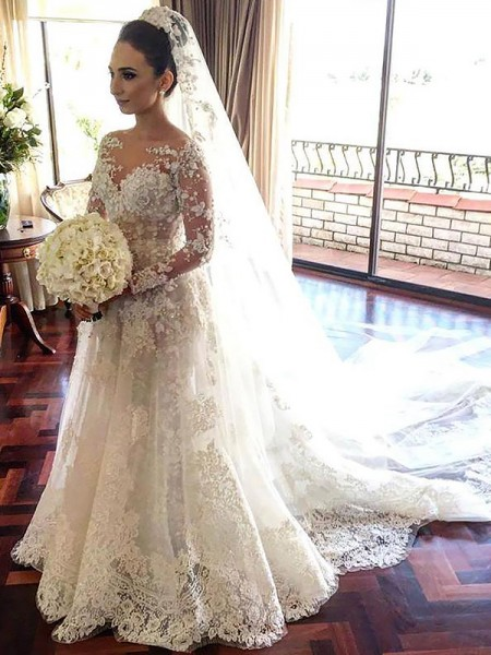 A-Line/Princess Long Sleeves Tulle Bateau Lace Chapel Train Wedding Dresses