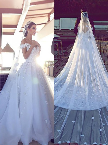 Ball Gown Sleeveless Satin Chiffon V-neck Chapel Train Wedding Dresses