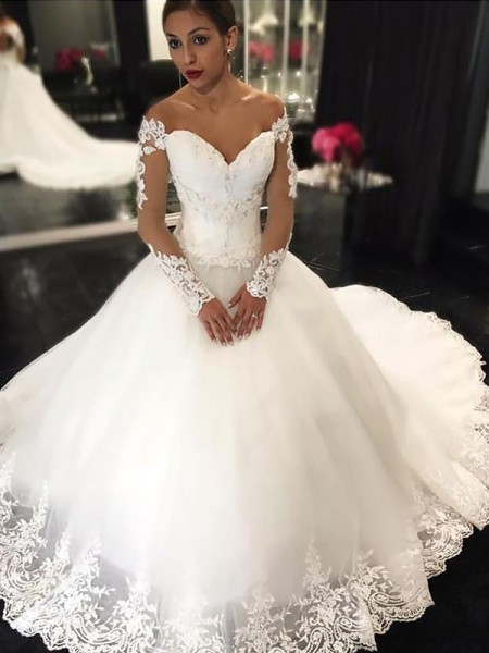 Ball Gown Sleeveless Tulle Off-the-Shoulder Applique Court Train Wedding Dresses