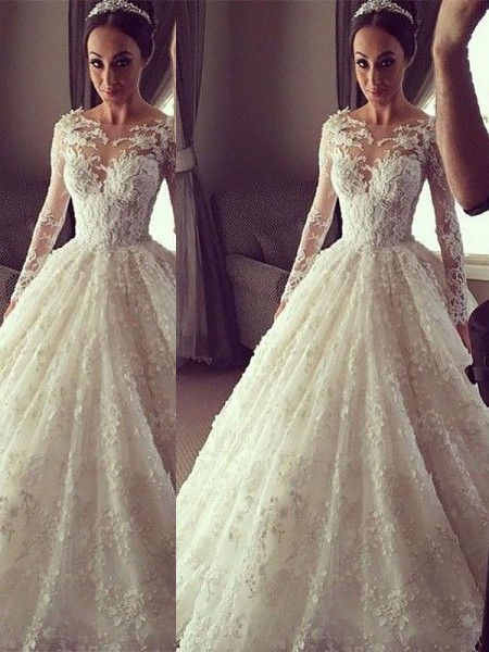 Ball Gown Long Sleeves Lace Scoop Court Train Wedding Dresses