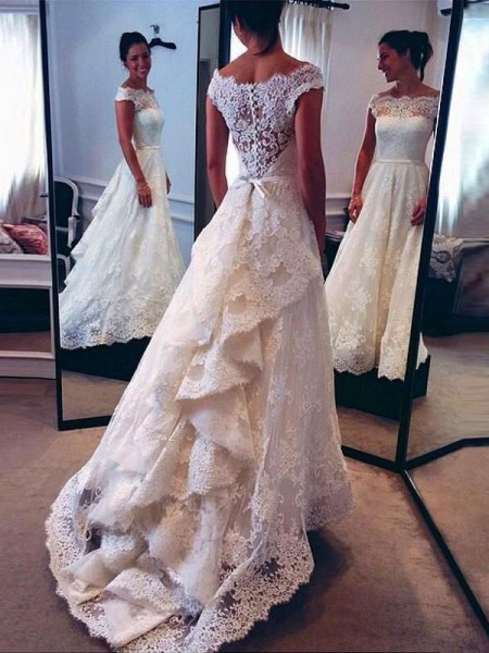 A-Line/Princess Sleeveless Lace Scoop Court Train Wedding Dresses