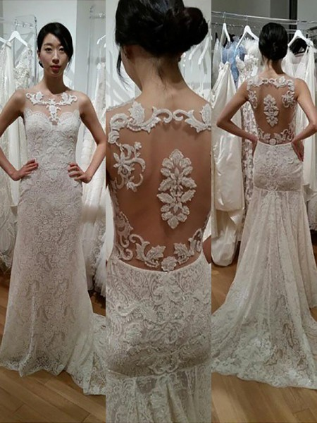 Trumpet/Mermaid Sleeveless Lace Scoop Sweep/Brush Train Wedding Dresses