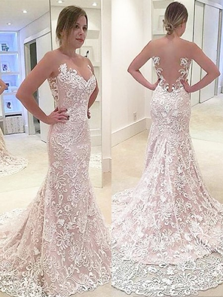 Trumpet/Mermaid Sleeveless Lace Sweetheart Sweep/Brush Train Wedding Dresses