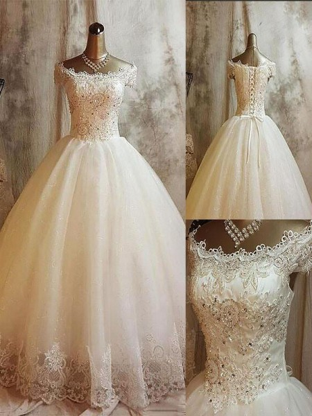 Ball Gown Sleeveless Tulle Off-the-Shoulder Applique Sweep/Brush Train Wedding Dresses