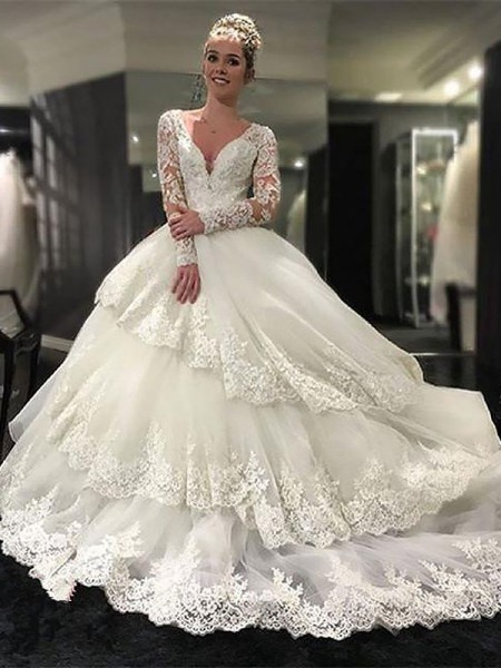 Ball Gown Long Sleeves Tulle V-neck Court Train Wedding Dresses