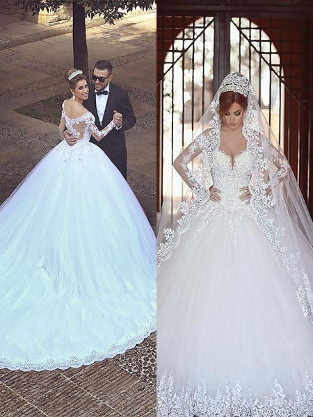 Ball Gown Long Sleeves Tulle Off-the-Shoulder Court Train Wedding Dresses