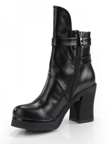 Women's Cattlehide Leather Chunky Heel Closed Toe With Zipper Mid-Calf Black Boots