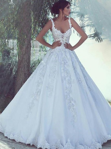 Ball Gown Sleeveless Satin Sweep/Brush Train Scoop Wedding Dresses