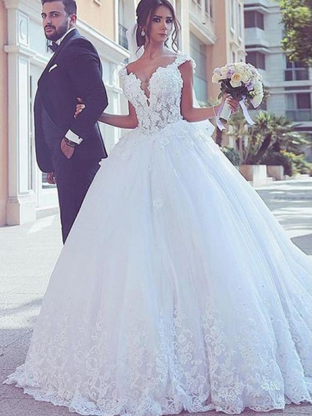 Ball Gown Sleeveless Tulle Sweep/Brush Train Sweetheart Wedding Dresses