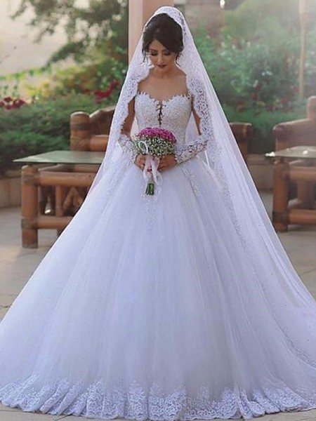 Ball Gown Long Sleeves Tulle Sweep/Brush Train Sweetheart Wedding Dresses