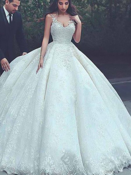 Ball Gown Sleeveless Tulle Sweep/Brush Train Spaghetti Straps Wedding Dresses