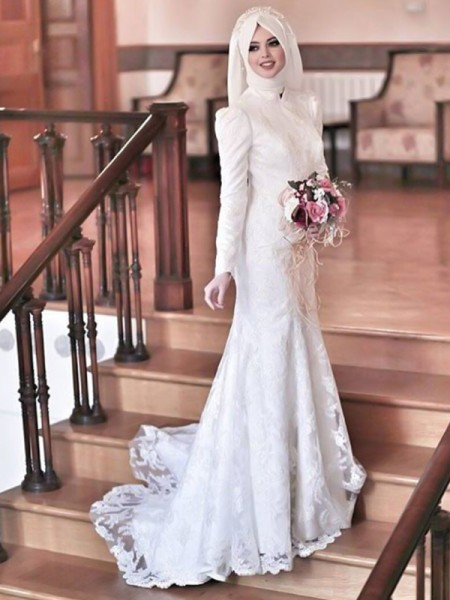 Trumpet/Mermaid Long Sleeves Tulle Sweep/Brush Train High Neck Wedding Dresses