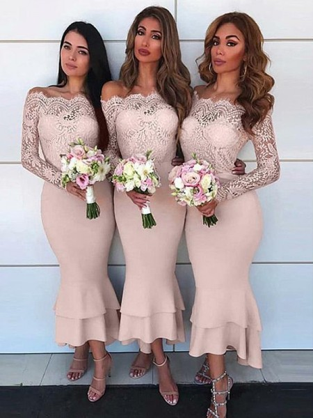 Sheath/Column Long Sleeves Jersey Ankle-Length Off-the-Shoulder Bridesmaid Dresses