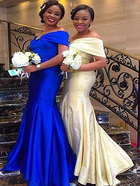 Trumpet/Mermaid Sleeveless Satin Floor-Length Off-the-Shoulder Ruffles Bridesmaid Dresses