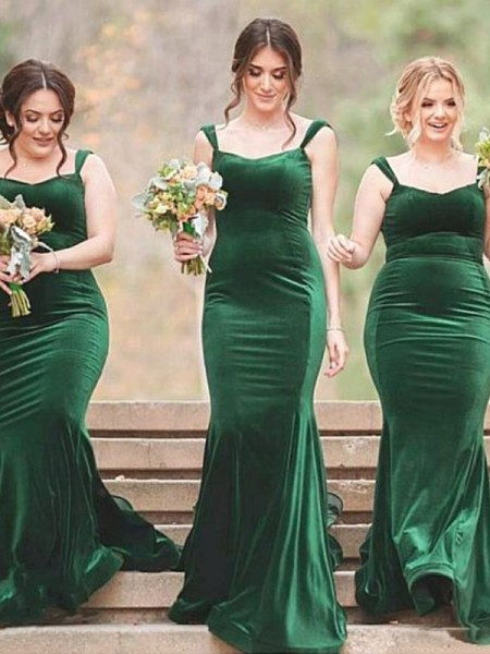 Sheath/Column Sleeveless Velvet Sweep/Brush Train SpaghettiStraps Ruffles Bridesmaid Dresses
