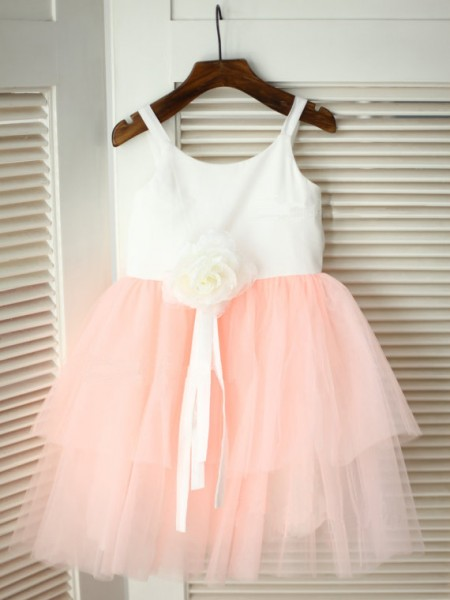 A-Line/Princess Spaghetti Straps Tea-Length Hand-Made Flower Sleeveless Tulle Flower Girl Dresses