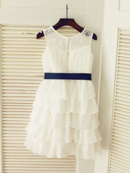 A-Line/Princess Scoop Tea-Length Ruched Sleeveless Chiffon Flower Girl Dresses