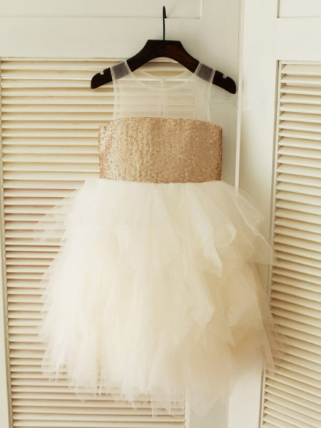 Ball Gown Scoop Tea-Length Ruffles Sleeveless Tulle Flower Girl Dresses