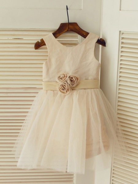A-Line/Princess Scoop Tea-Length Sash/Ribbon/Belt Sleeveless Tulle Flower Girl Dresses