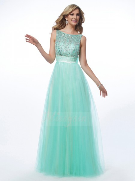 A-Line/Princess Sleeveless Floor-Length Net Bateau Beading Dresses