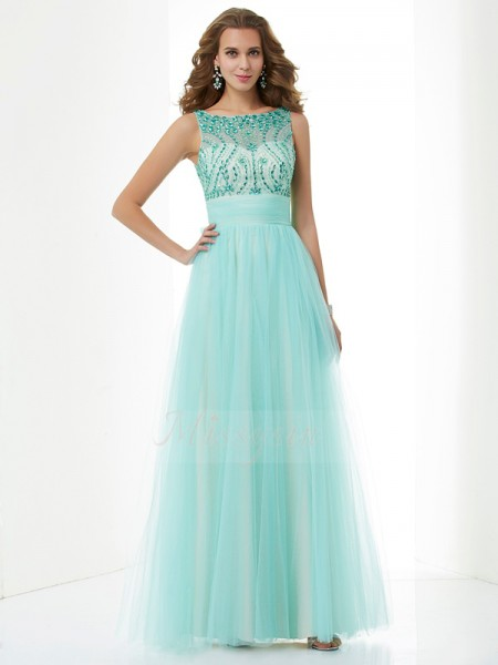 A-Line/Princess Sleeveless Floor-Length Elastic Woven Satin,Net Bateau Beading Dresses