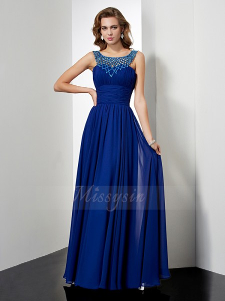 Empire Sleeveless Floor-Length Chiffon High Neck Beading Dresses