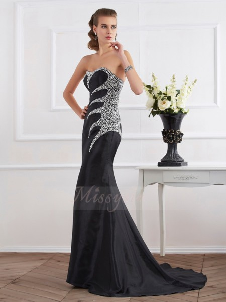 Trumpet/Mermaid Sleeveless Sweep/Brush Train Taffeta Strapless,Sweetheart Beading Dresses