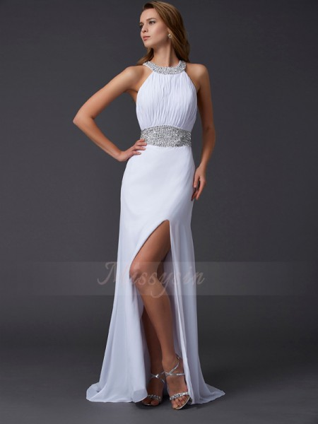 A-Line/Princess Sleeveless Sweep/Brush Train Chiffon Scoop Ruffles,Beading Dresses