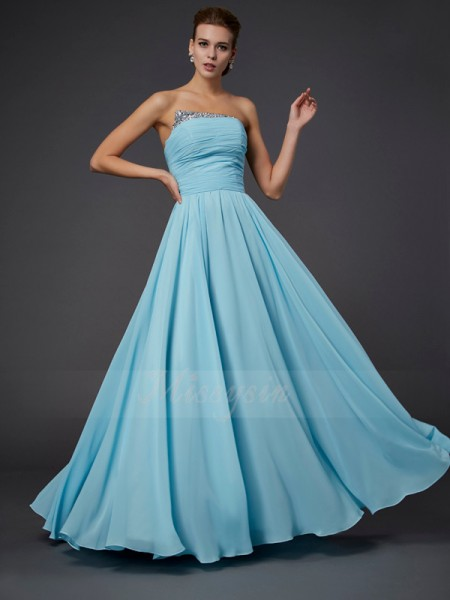 Sheath/Column Sleeveless Floor-Length Chiffon Strapless Beading Dresses
