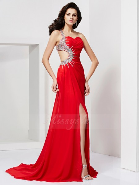 Trumpet/Mermaid Sleeveless Sweep/Brush Train Chiffon Sweetheart,One-Shoulder Pleats,Beading Dresses