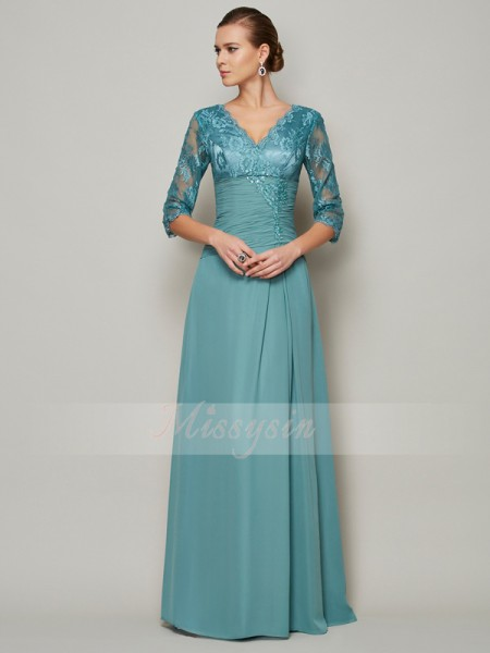 A-Line/Princess 3/4 Sleeves Floor-Length Chiffon V-neck Mother Of The Bride Dresses