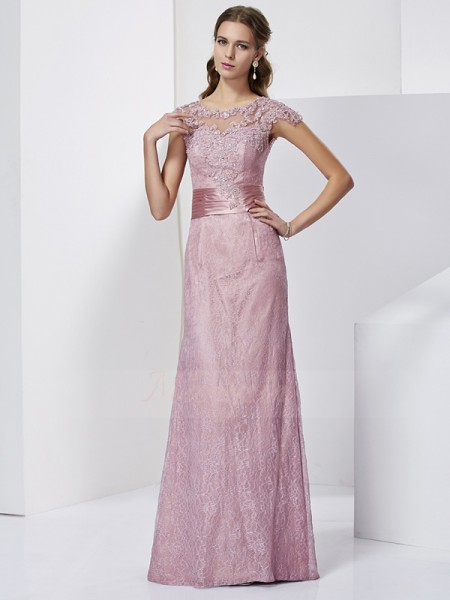 Sheath/Column Short Sleeves Floor-Length Elastic Woven Satin High Neck Mother Of The Bride Dresses