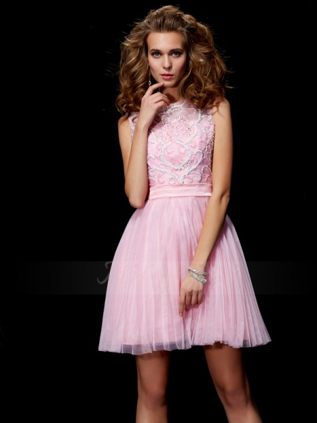 A-Line/Princess Sleeveless Short/Mini Elastic Woven Satin,Net Scoop Beading Cocktail Dresses