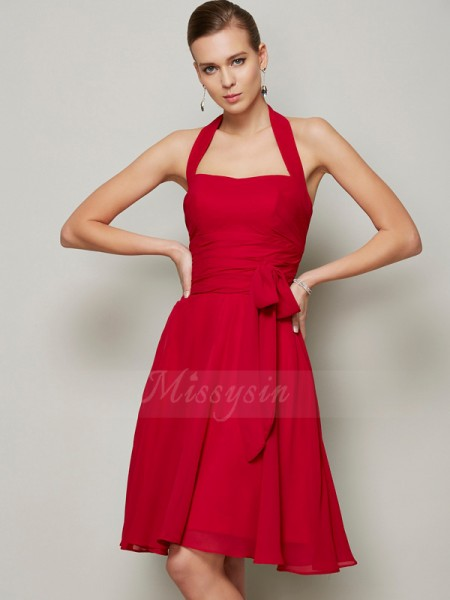 A-Line/Princess Sleeveless Knee-Length Chiffon Halter Pleats,Bowknot Dresses
