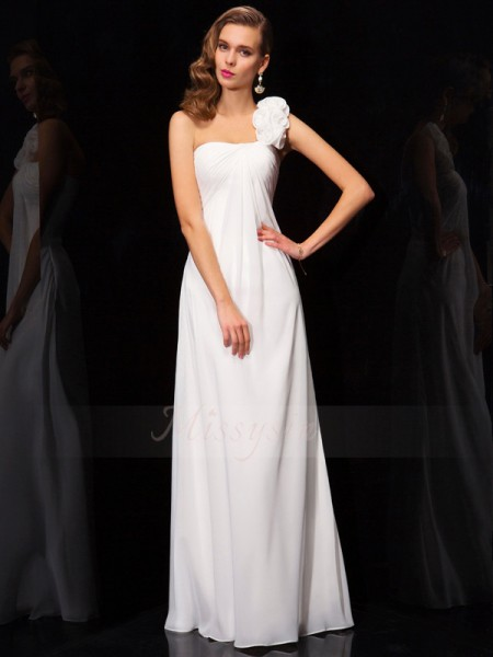 A-Line/Princess Sleeveless Floor-Length Chiffon One-Shoulder Pleats,Hand-Made Flower Dresses