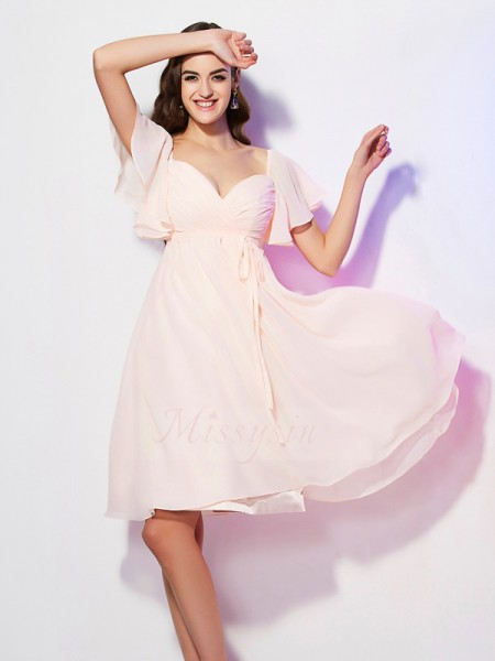 Sheath/Column Short Sleeves Knee-Length Chiffon Sweetheart Ruffles Bridesmaid Dresses