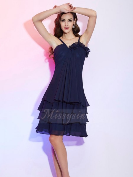 A-Line/Princess Sleeveless Knee-Length Chiffon Spaghetti Straps Ruffles Bridesmaid Dresses
