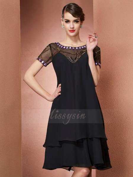 A-Line/Princess Short Sleeves Knee-Length Chiffon Scoop Beading Mother Of The Bride Dresses