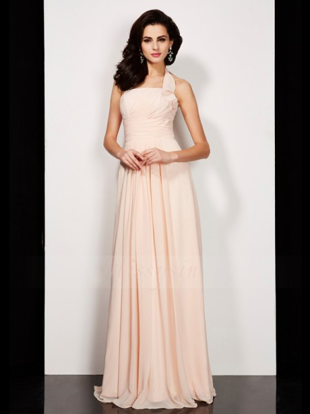 A-Line/Princess Sleeveless Floor-Length Chiffon Halter Pleats Dresses