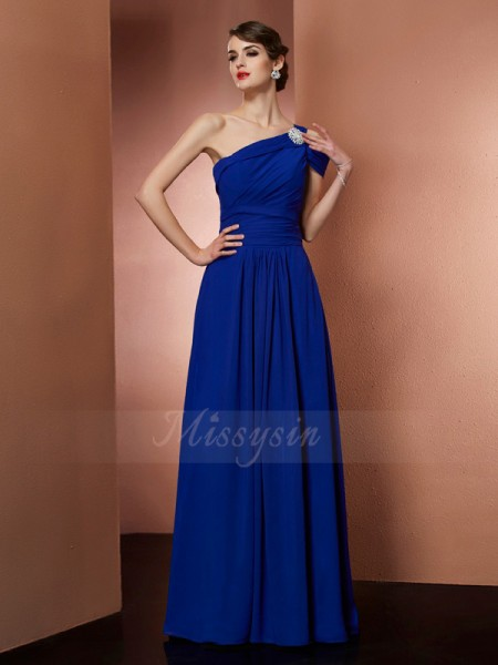 A-Line/Princess Sleeveless Floor-Length Chiffon One-Shoulder Pleats Dresses