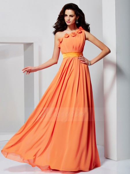 A-Line/Princess Sleeveless Floor-Length Chiffon One-Shoulder Hand-Made Flower Dresses