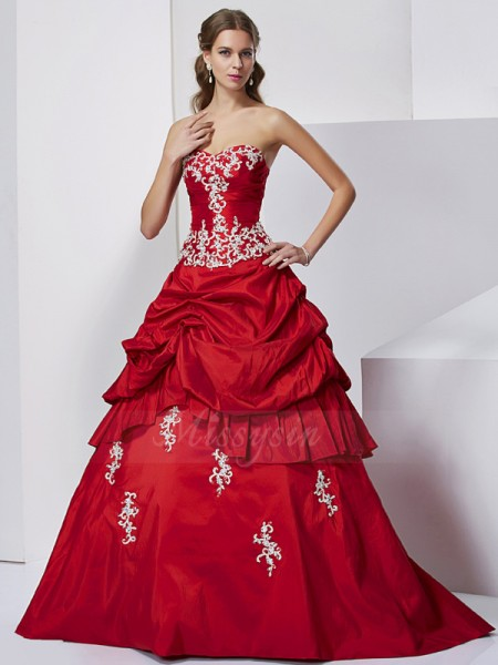 Ball Gown Sleeveless Floor-Length Taffeta Sweetheart Beading,Applique Dresses