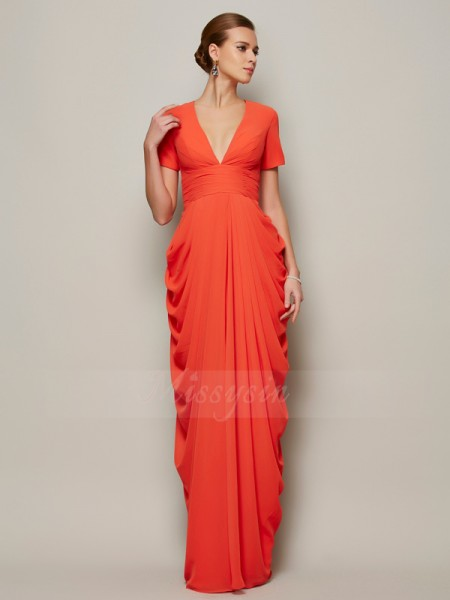 Sheath/Column Short Sleeves Floor-Length Chiffon V-neck Pleats Dresses
