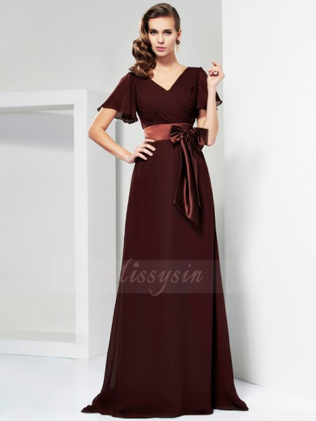 A-Line/Princess Short Sleeves Sweep/Brush Train Chiffon V-neck Sash/Ribbon/Belt,Bowknot Dresses