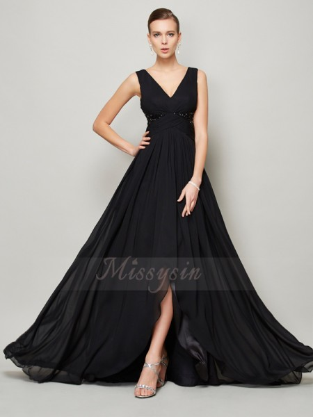 A-Line/Princess Sleeveless Floor-Length Chiffon V-neck Beading Dresses