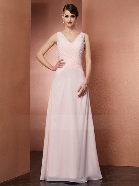 A-Line/Princess Sleeveless Floor-Length Chiffon V-neck Pleats Dresses