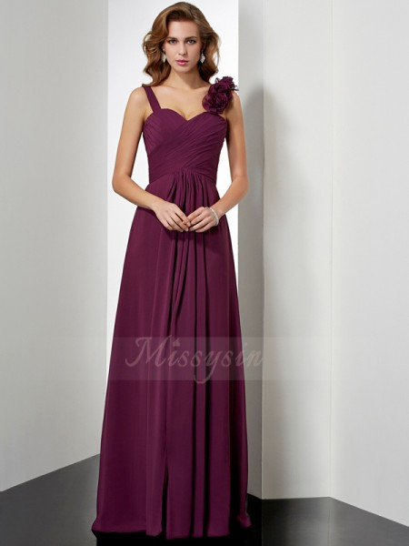 A-Line/Princess Sleeveless Floor-Length Chiffon Straps Hand-Made Flower Dresses