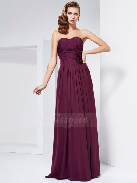 Sheath/Column Sleeveless Floor-Length Chiffon Sweetheart Pleats,Hand-Made Flower Dresses